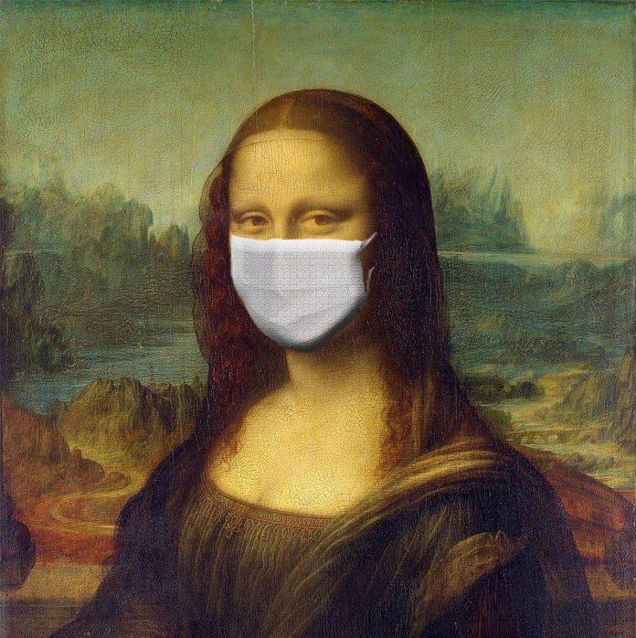 imagen de La Monalisa con mascarilla quirúrgica